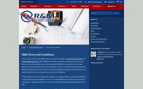 Screenshot of Terms Page rm-electrical.com - R&M Terms & Conditions | R&M Electrical Group - captured Feb. 4, 2016