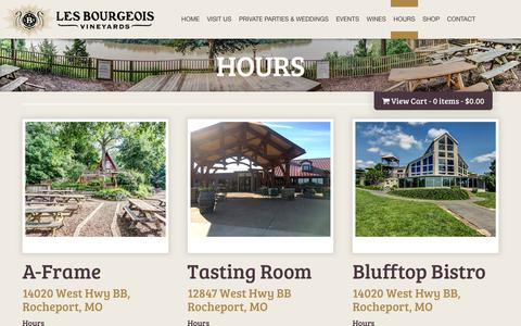 Screenshot of Hours Page missouriwine.com - Hours | Les Bourgeois Vineyards - captured Aug. 1, 2017