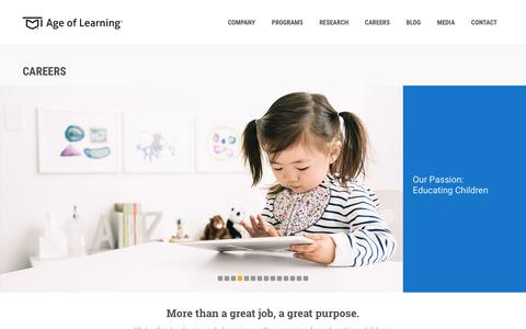 Screenshot of Jobs Page ageoflearning.com - Careers at Age of Learning, Inc. > Apply for a Job, Find Openings - captured Feb. 8, 2019