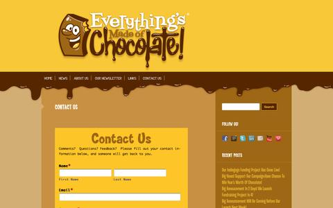 Screenshot of Contact Page everythingsmadeofchocolate.com - Contact Us | Everythings Made of Chocolate - captured Sept. 30, 2014