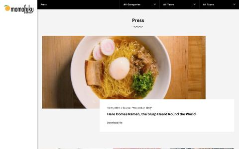 Screenshot of Press Page momofuku.com - Press - Momofuku - captured Jan. 10, 2016