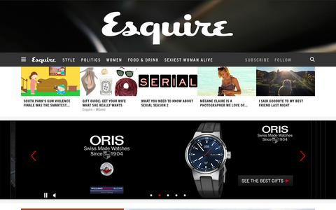 Screenshot of Home Page esquire.com - Esquire - Men's Fashion, Cocktails, Politics, Interviews, and Women - captured Dec. 11, 2015