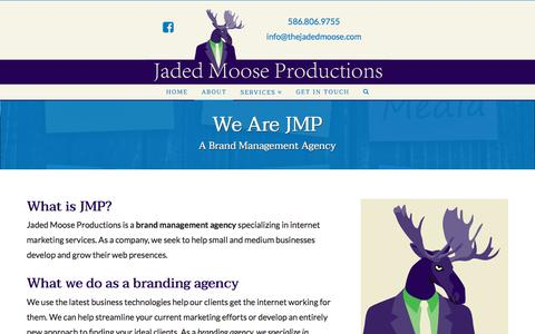Screenshot of About Page thejadedmoose.com - Brand Management Agency Near Detroit MI - JMP - captured Sept. 21, 2018