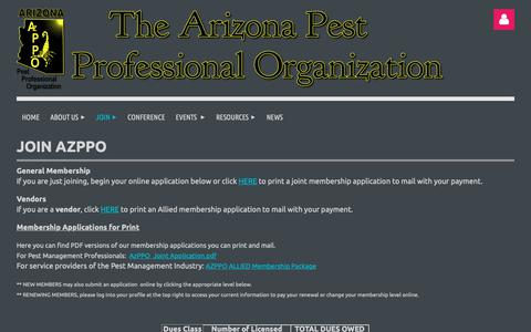 Screenshot of Signup Page azppo.org - Join the Arizona Pest Control Professional Organization - captured Nov. 6, 2018