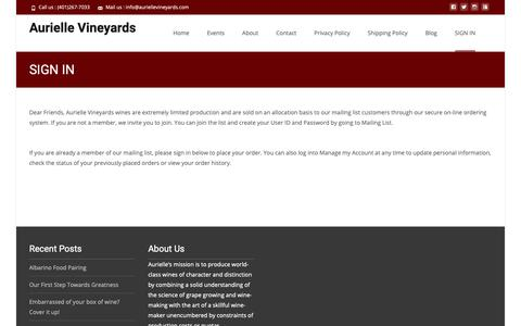 Screenshot of Login Page auriellevineyards.com - SIGN IN – Aurielle Vineyards - captured Nov. 6, 2018