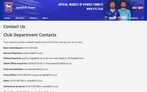 Screenshot of Contact Page itfc.co.uk - Contact Us - Ipswich Town - captured Oct. 15, 2017