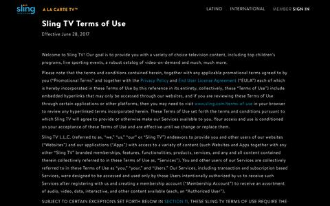 Terms of Use | Sling TV