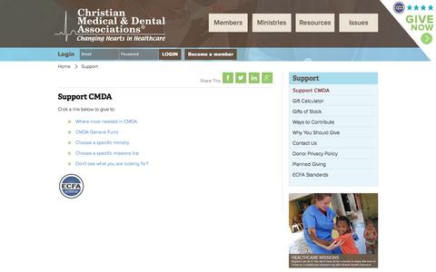 Screenshot of Support Page cmda.org - Support : Christian Medical & Dental Associations - captured Nov. 5, 2016