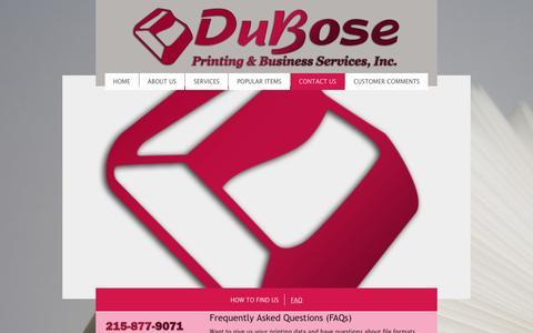 Screenshot of FAQ Page duboseprinting.com - DuBose Business Services - FAQ - captured Nov. 24, 2016
