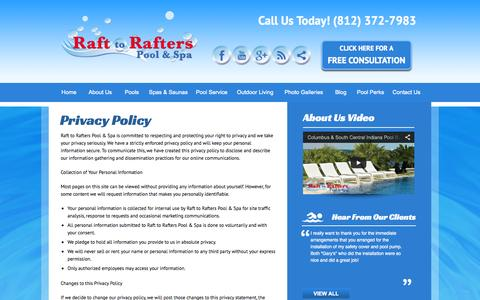 Screenshot of Privacy Page rafttorafters.com - Privacy Policy | Personal Information | Custom Pool Builder Columbus - captured Oct. 9, 2014