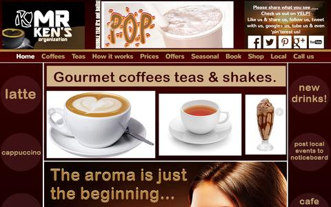 Screenshot of Home Page mrkens.co.uk - Coffee for events. Call 07916217138 to book. Gourmet coffees teas & shakes. - captured Oct. 9, 2014