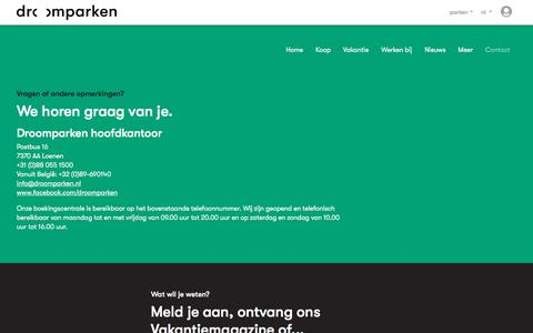 Screenshot of Contact Page droomparken.nl - Contact met Droomparken - captured Aug. 8, 2018
