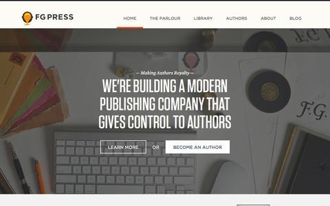 Screenshot of Home Page fgpress.com - FG Press - captured Sept. 23, 2014