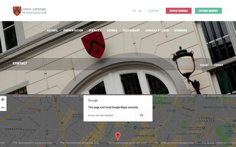 Screenshot of Contact Page cercledelorraine.be - Cercle de Lorraine - Club van Lotharingen - captured Sept. 27, 2018
