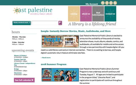 Screenshot of Home Page east-palestine.lib.oh.us - East Palestine Memorial Public Library - captured July 2, 2018