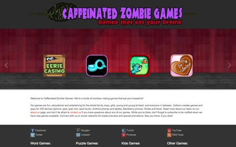 Screenshot of Home Page cafzom.com - Caffeinated Zombies | Games that eat your brains! - captured Oct. 1, 2014