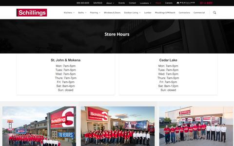 Screenshot of Hours Page schillings.com - Store Hours - Schillings - captured Nov. 19, 2016