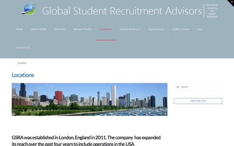 Screenshot of Locations Page gsra.org.uk - Locations - Global Student Recruitment Advisors - captured Jan. 30, 2016