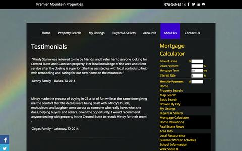 Screenshot of Testimonials Page premier-mountain-properties.com - Testimonials | Premier Mountain Properties | Real Estate | Homes For Sale | Crested Butte | Colorado | Property Search - captured Sept. 30, 2014