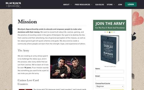 Screenshot of About Page blackjackapprenticeship.com - Mission - Blackjack Apprenticeship - captured July 29, 2016