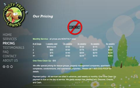 Screenshot of Pricing Page dootyfreelawns.com - Dooty Free Lawns - Pricing - 1-800-DOG-POOP - Dooty Free Lawns - captured Jan. 7, 2016