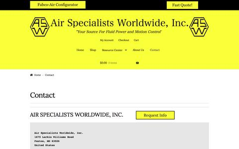 Screenshot of Contact Page airspec.com - Contact – Air Specialists Worldwide, Inc. - captured Sept. 24, 2018
