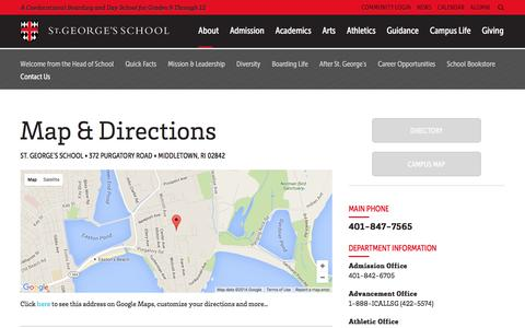 Screenshot of Contact Page Maps & Directions Page stgeorges.edu - St. George's School: Contact Us - captured Feb. 16, 2016
