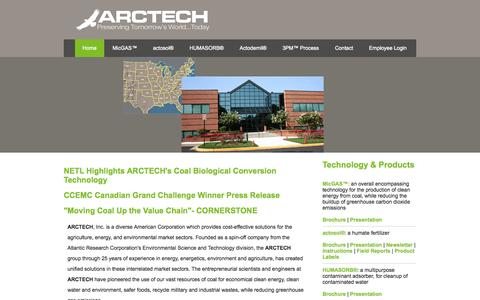 "Screenshot of Home Page arctech.com - ARCTECH, Inc.""Preserving Tomorrow's World...Today"" - captured Sept. 30, 2014"