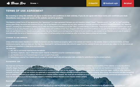Screenshot of Terms Page meanbro.co.nz - Terms of use - MeanBro.co.nz - captured Oct. 3, 2014