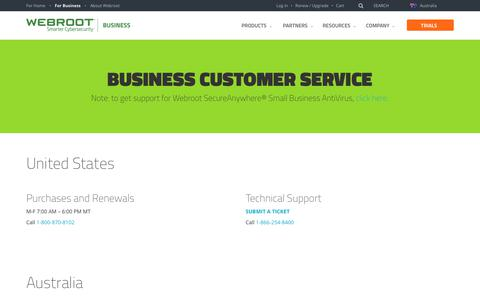 Screenshot of Support Page webroot.com - Official Business Support Contact Information | Webroot - captured April 13, 2018