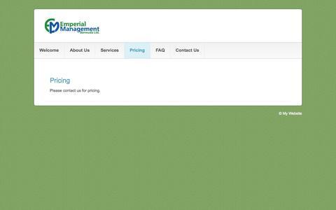 Screenshot of Pricing Page emperialmgt.com - Pricing - Emperial Management (Bermuda) Ltd. - captured Oct. 2, 2014