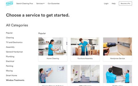 Screenshot of Services Page handy.com - All Home Services | Handy - captured April 20, 2018