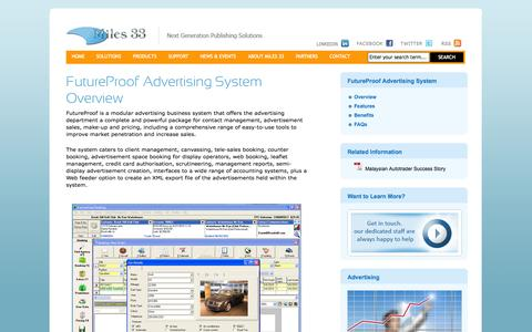 Screenshot of Products Page miles33.com - FutureProof Advertising System Overview   Miles 33 - captured Oct. 27, 2014