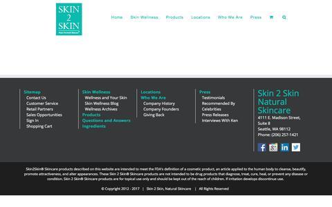 Screenshot of Support Page skin2skincare.com - Customer Service - skin 2 skin care - captured Oct. 5, 2017