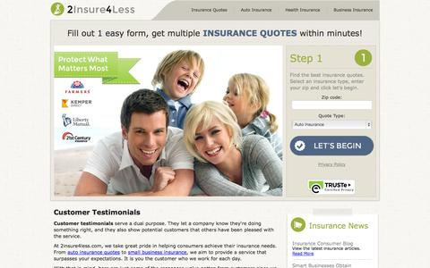 Screenshot of Testimonials Page 2insure4less.com - Customer Testimonials | Online Insurance Quotes - captured Oct. 30, 2014