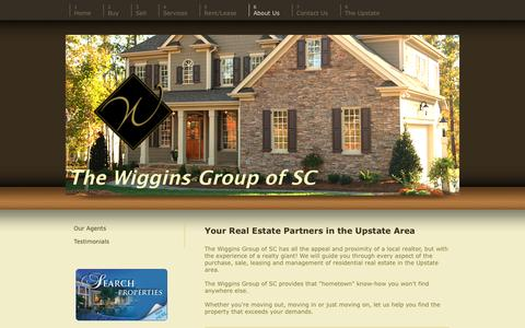 Screenshot of About Page thewigginsgroupofsc.com - Wiggins Group of SC -The Upstate's Real Estate Choice - About Us - captured Oct. 27, 2014