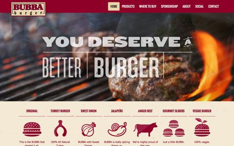 Screenshot of Home Page bubbafoods.com - BUBBA Burger |  You'll never bite a burger better than a BUBBA. - captured March 29, 2016