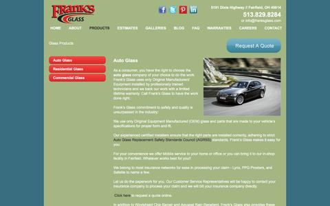 Screenshot of Products Page franksglass.com - Auto Glass-Glass Repair-Replacement Auto Glass-Cincinnati-West Chester - captured Aug. 22, 2018