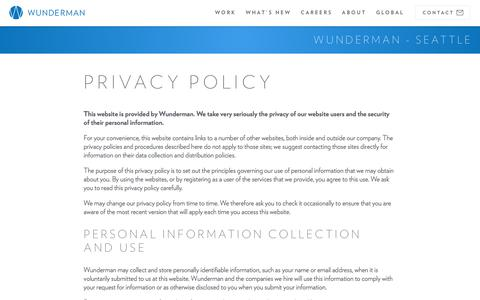 Screenshot of Privacy Page wunderman.com - Privacy Policy | Wunderman - captured Feb. 1, 2018