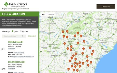 Screenshot of Contact Page Locations Page georgiafarmcredit.com - Georgia Farm Credit Locations | Georgia Farm Credit - captured Nov. 27, 2018