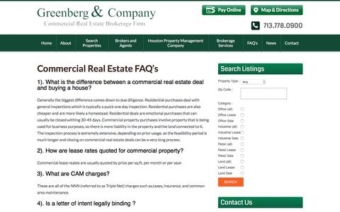 Screenshot of FAQ Page greenbergcompany.com - Commercial Real Estate Frequently Asked Questions - captured Dec. 15, 2015