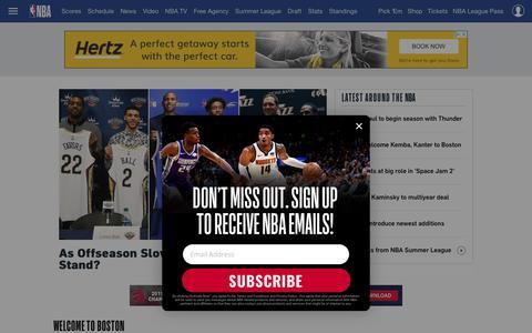 Screenshot of Home Page nba.com - The official site of the NBA | NBA.com - captured July 18, 2019