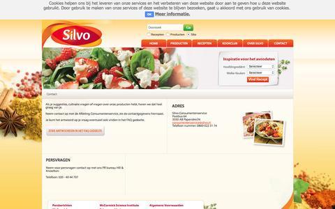 Screenshot of Contact Page silvo.nl - Contact | Silvo - captured Feb. 12, 2016