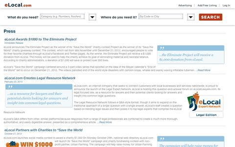 Screenshot of Contact Page Terms Page elocal.com - Information | eLocal.com - captured Oct. 29, 2014