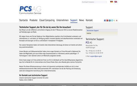 Screenshot of Support Page pcs-ag.de - PCS AG Solingen: Technischer Support - captured July 14, 2018