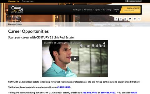 Screenshot of Jobs Page century21.com - Lacey, WA Link Real Estate Real Estate Office | Agents | CENTURY 21 - captured May 15, 2017