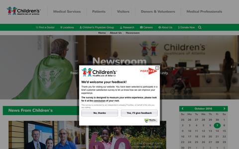 Screenshot of Press Page choa.org - Newsroom | Children's Healthcare of Atlanta - captured Oct. 7, 2016