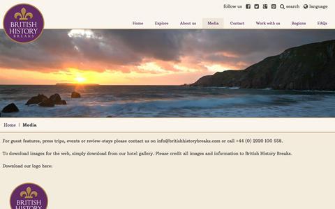 Screenshot of Press Page britishhistorybreaks.com - Media information - captured June 3, 2017