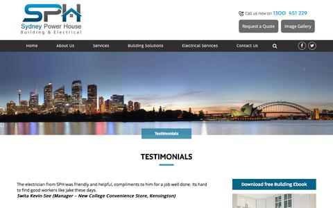 Screenshot of Testimonials Page sydneypowerhouse.com.au - Testimonials - Sydney Power House Sydney Power House - captured Oct. 26, 2017