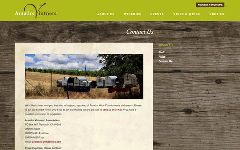 Screenshot of Contact Page amadorwine.com - Contact Us | Amador Vintners Association - captured Oct. 4, 2014